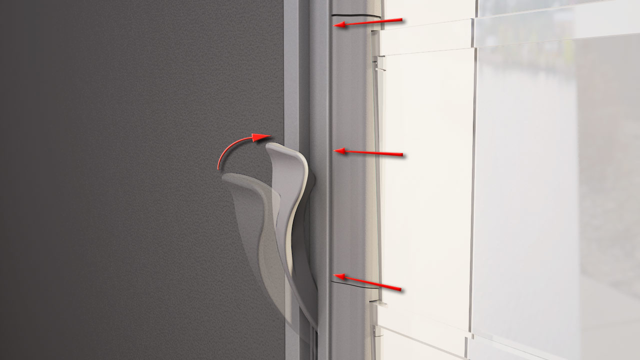 Altair Louvre patented living hinge seals tightly between clip and channel